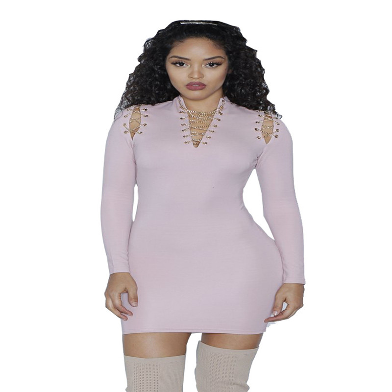 Long Sleeve Solid Pink Hot design chic Sheath dress women v-neck celeb summer dress hollow bandage bodycon dress free ship S-XL ...