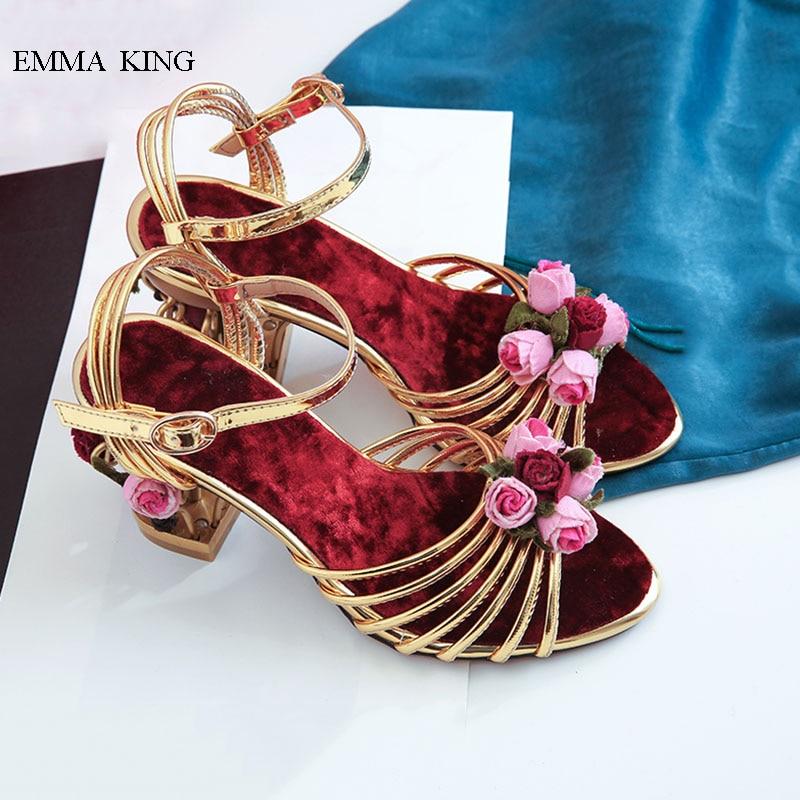 Épais Style Light Hauts Talons Sandales En Femmes D'été Gold Chaussures Birdcage De gold Sangle Rétro Fowers Cuir Or Boucle Éthique v5qTwZRE