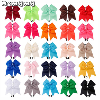 7 Large Girls Solid Cheer Bow With Elastic Band Cheerleader Hair Soft Grosgrain Bands For Kids Accessories