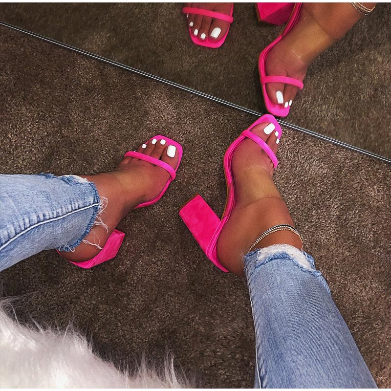 HTB1.rRhev1G3KVjSZFkq6yK4XXaf MCCKLE Women Transparent Sandals Ladies High Heel Slippers Candy Color Open Toes Thick Heel Fashion Female Slides Summer Shoes