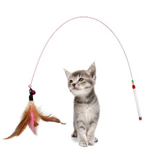 Pet Cat Toy Cute Design Steel Wire Feather Teaser Wand Plastic Toy for Cats Multicolor Products For Pet Cat