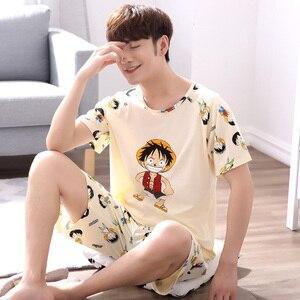 Image 3 - Мужская пижама с короткими рукавами Yidanna, Хлопковая пижама с принтом в виде фигуры, Повседневная Ночная рубашка для отдыха на лето
