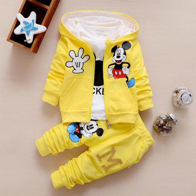 2017 Outono roupas de bebê menina/meninos crianças minnie mickey meninos meninas roupas t-shirt + casaco + calças 3 terno Meninas Meninos conjuntos de roupas
