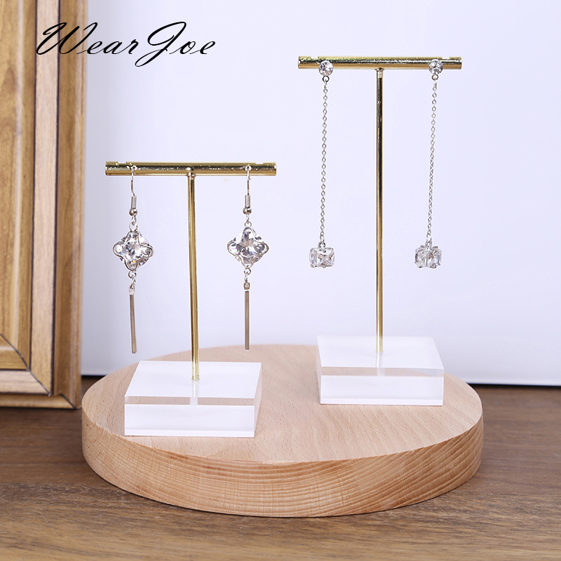Wholesale Metal T Bar Jewelry Stud Earrings Display Stand Holder With Solid Acrylic Pendant Large Earrings Hanger Showcase Rack