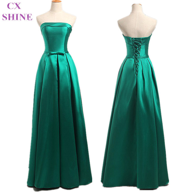 Cx Shine Custom Color Sizestrapless Green Stain Belt Long Evening