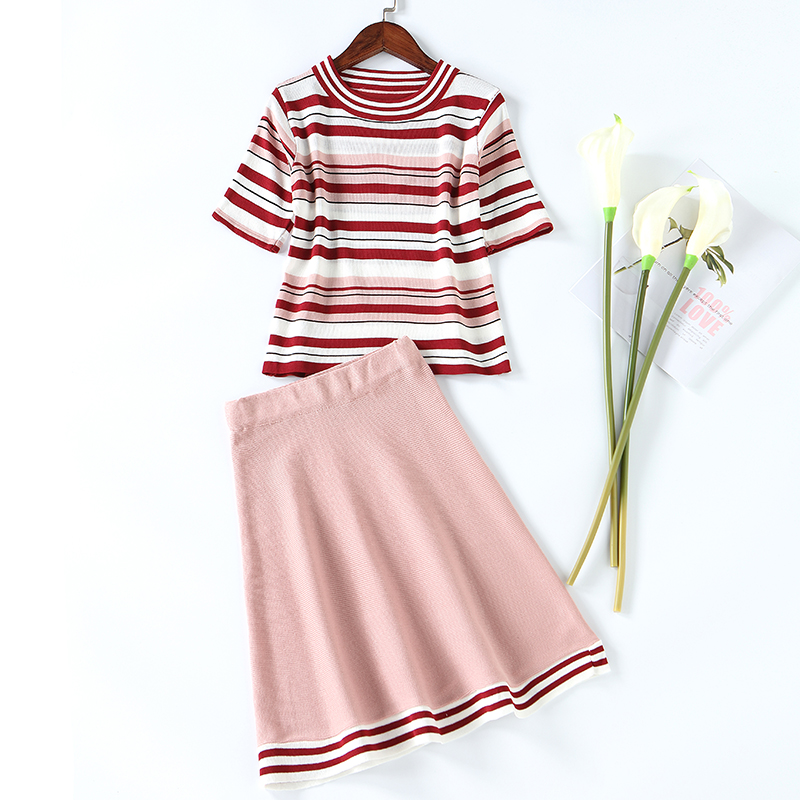 Summer Womens Knitted Striped 2 Piece Set Suits Girls Leisure Sweet Short Sleeve Top & Short Skirt Suits Sets Free Shipping ...