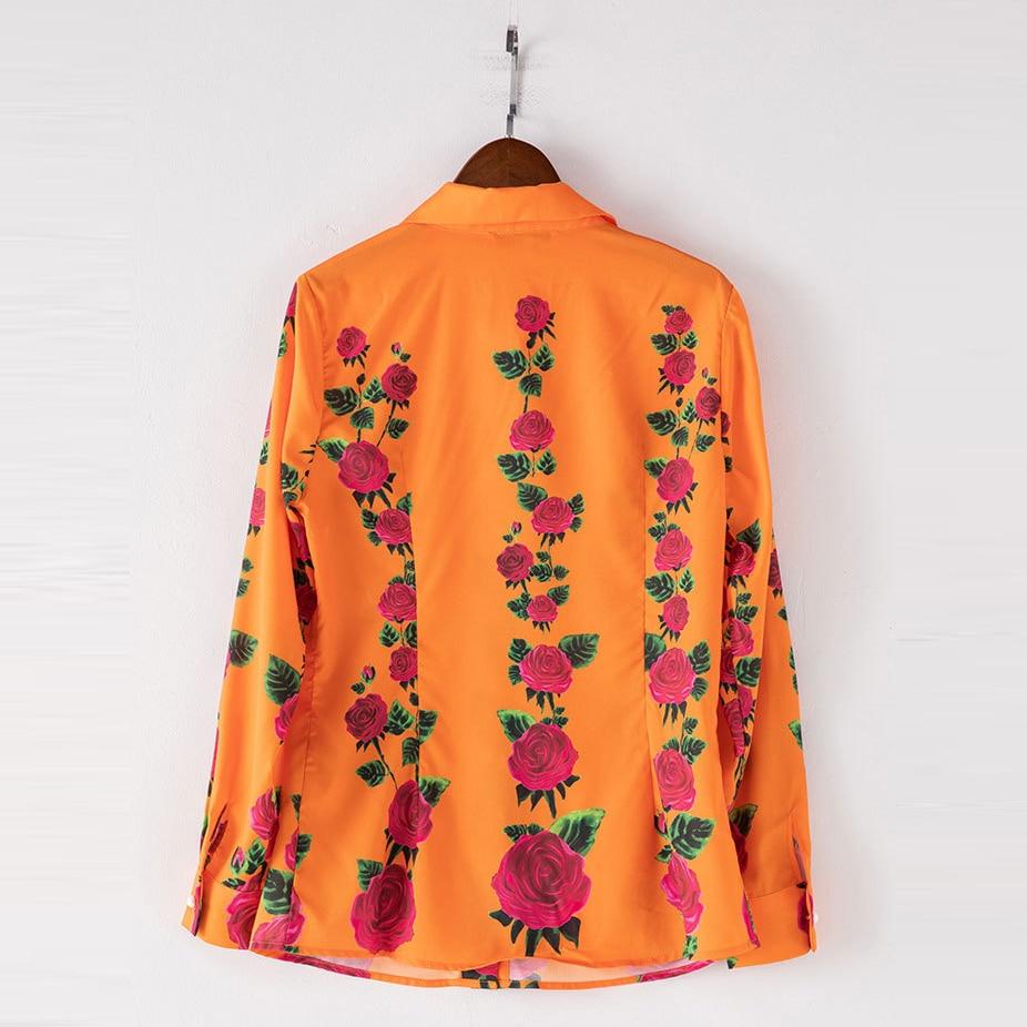 Orange Mince Automne Col Manches 2018 down Chemises Femelle Femmes Jolie Turn Floral Doux Pleine Imprimé Blouse Mode UxRfq