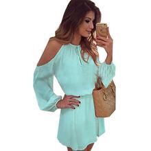 Yfashion Summer Fashion Elegant Chiffon Off Shoulder Long Sleeve Solid Color Dress for Women Girl