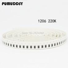 100PCS 1206 SMD Resistor  220K ohm chip resistor 0.25W 1/4W 224