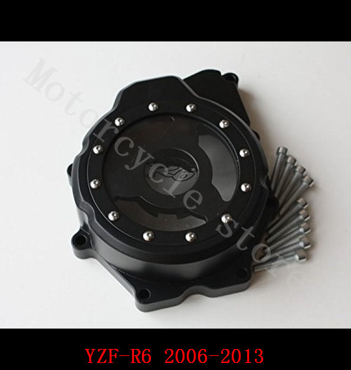 Fit for Yamaha YZF R6 YZF-R6 2006-2013 Motorcycle Engine Stator cover see through Black left side aftermarket free shipping motorcycle parts billet motor engine stator cover yamaha yzf r6 yzf r6 2006 2013 black left side