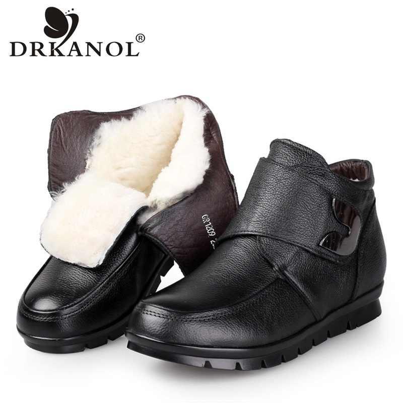 DRKANOL moda kadınlar kış kar botları hakiki deri yün Shearling kürk yarım çizmeler klasik siyah kadın sıcak ayakkabı Botas