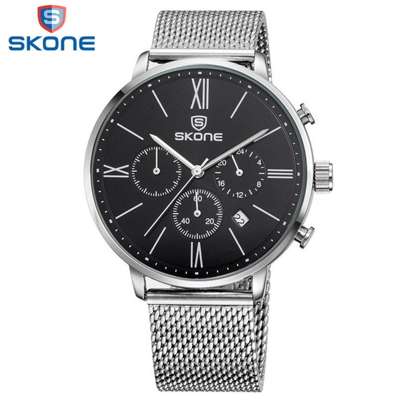 SKONE Watches Men Stainless Steel Band Montre Homme Multifunction Mens Wrist Watches Relogio Masculino 2018 Male Clock