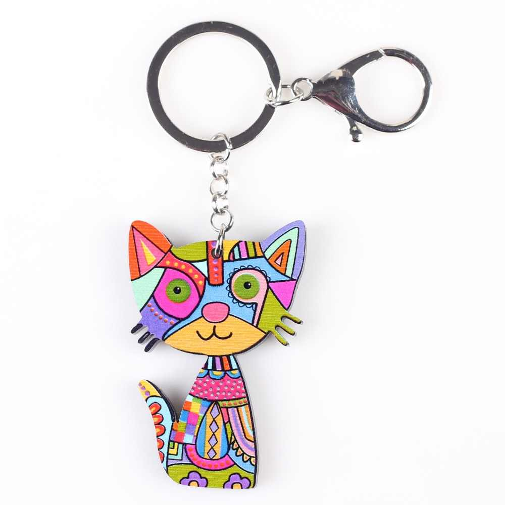 Bonsny Cat брелок Новый 2016 акриловый узор милые животные модные украшения для женщин аксессуары