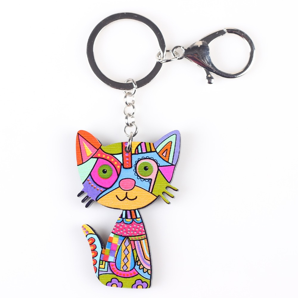 Bonsny Cat Keychain New 2016 Acrylic Pattern Cute Animal Fashion Jewelry For Women  Accessories
