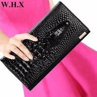 WHX Crocodile Grain Wallets Women Long Wallet Female Wallet Coin Purse Pocketbook Billfold Card Money Bag