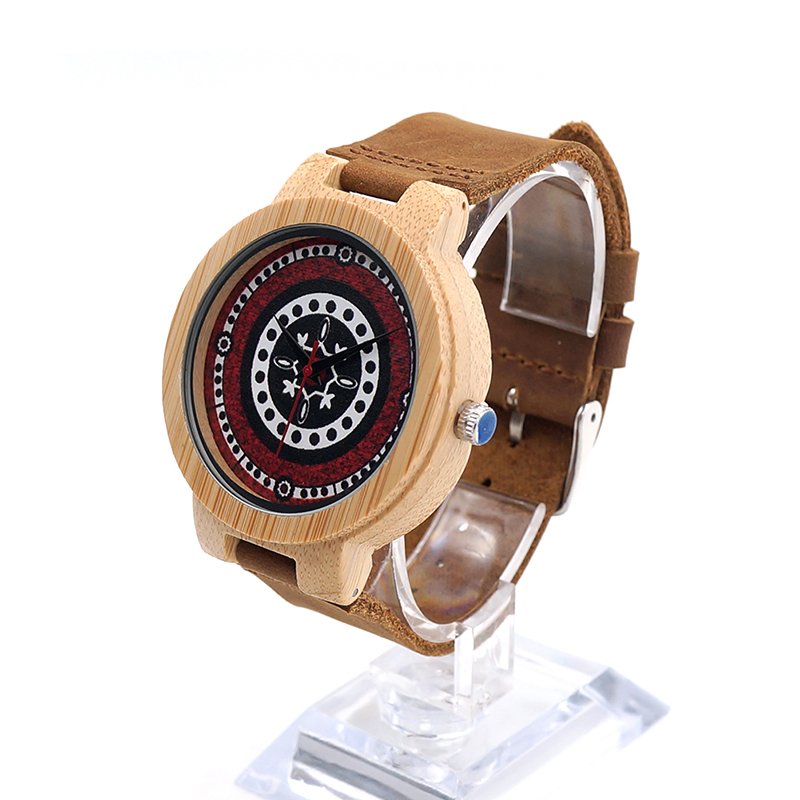 ФОТО BOBO BIRD J11 Bamboo Watch UV Priting Colourful Dial Soft Leather Band Quartz Mens Watches Top  Accept OEM Relogio