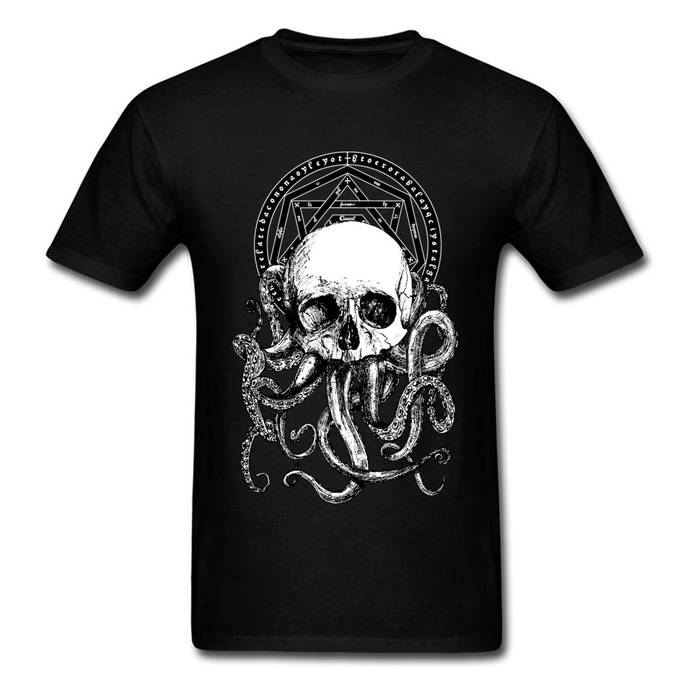 Pieces Of Cthulhu T Shirts Crazy Tees Men Black T-shirt Skull Octopus Print Tshirt Cotton Tops Vintage Style Drop Shipping