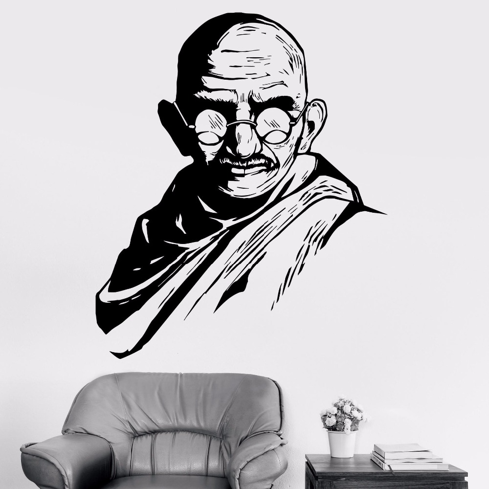 Us 8 28 mahatma gandhi famous indian vinyl wall decal home decor living room diy art mural removable wall sticker in wall stickers from home