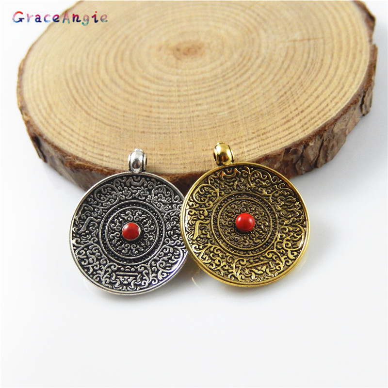 GraceAngie 6PCS Mixed Antique Gold/Bronze Zinc Alloy Round Charms For Jewelry Making Necklace Pendant Metal DIY Accessory