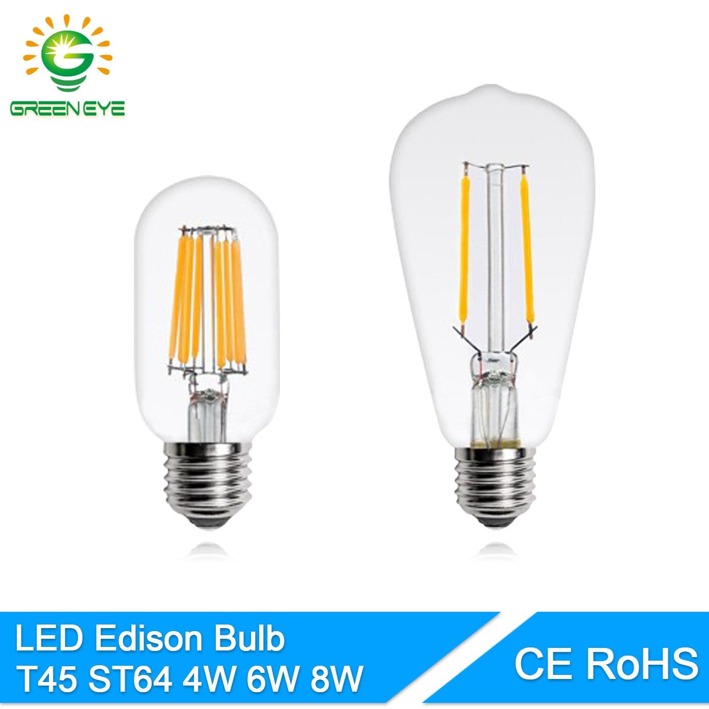 GreenEye Retro T45 ST64 Glass COB LED Edison Bulb E27 220V 4w 6w 8w LED Filament Lamp Ampoule Lampara Bombilla LED Bulb Edison