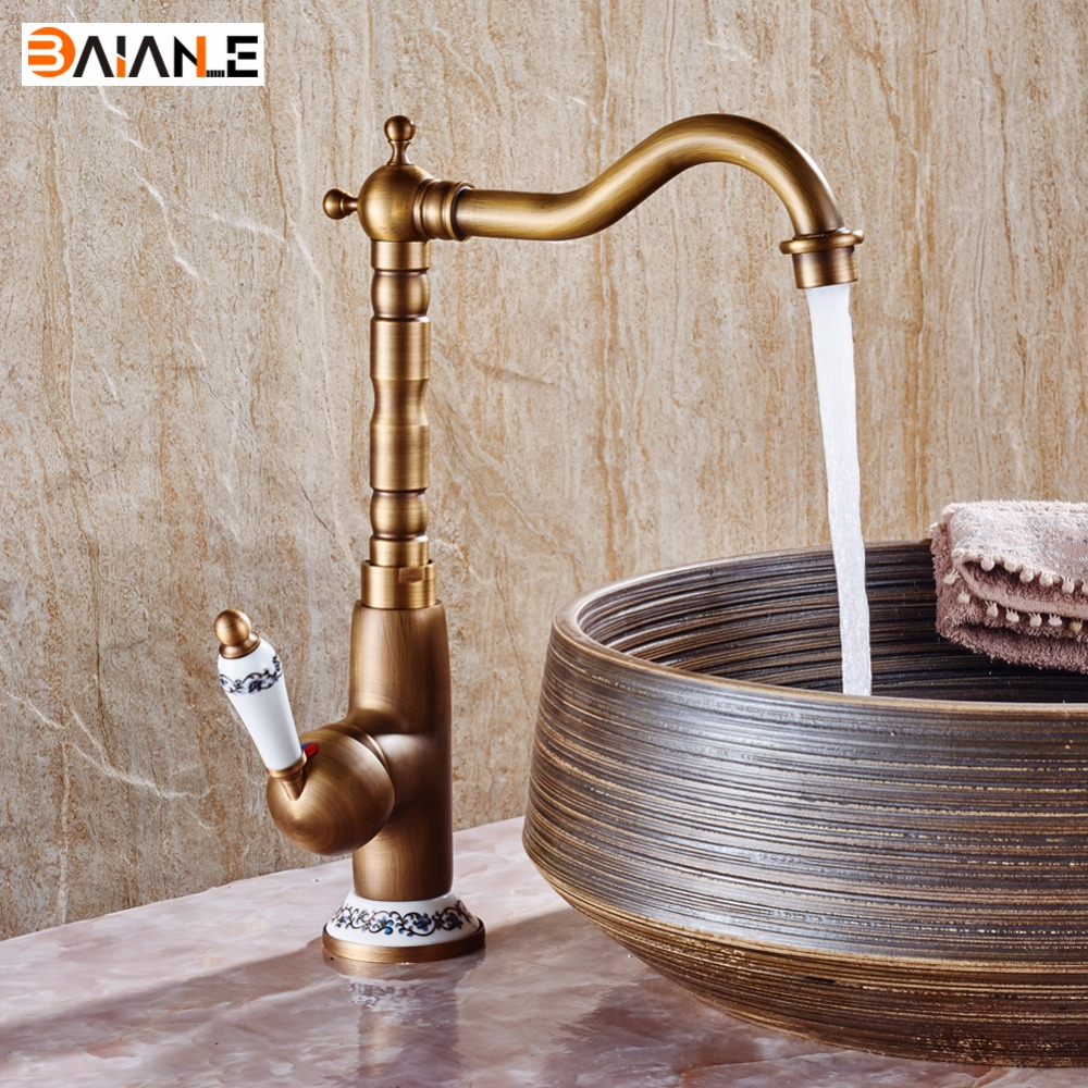 Basin Faucet 360 Swivel Hot and Cold Bathroom Heightening Antique Kitchen Sink Faucets Brass Porcelain Base Mixer Tap kitchen faucets 360 swivel antique brass porcelain mixer tap bathroom basin antique faucet