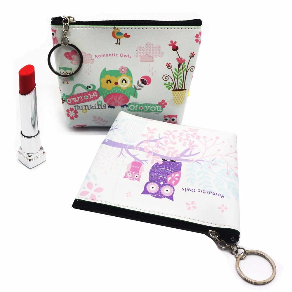 Aelicy Women Girls Bag Cash Coin Purse Mini Casual Cute Cartoon Owl Printed Zipper Clutch Make Up Bag with Keychain