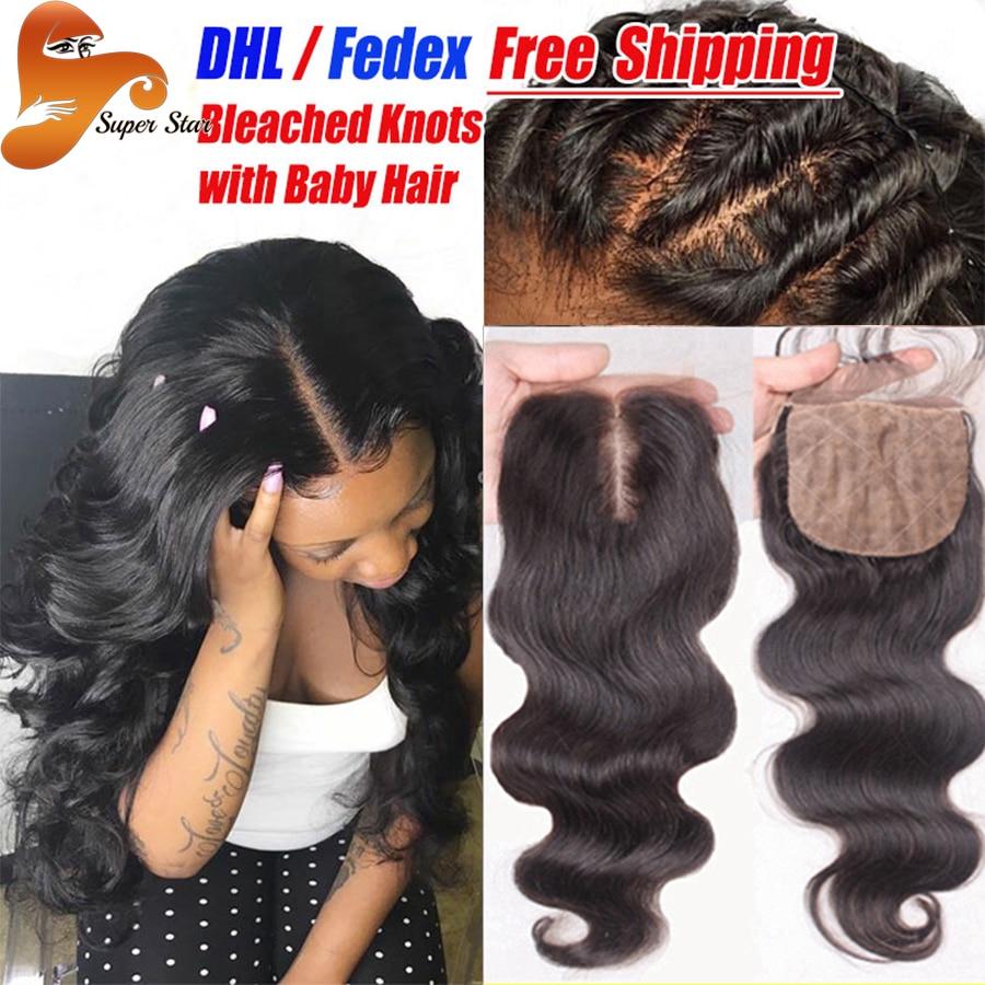 ФОТО Cheap Brazilian Silk Base Closure Body Wave Human Hair Silk Base Closure With Baby Hair Free Middle 3 Part Silk Top Lace Closure