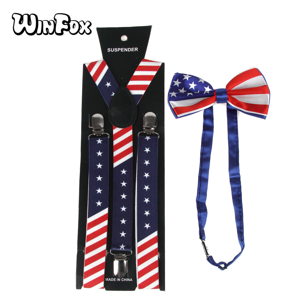 Winfox New Fashion Unisex Navy Red Star American Flag Bowties And Suspenders Sets For Mens Womens