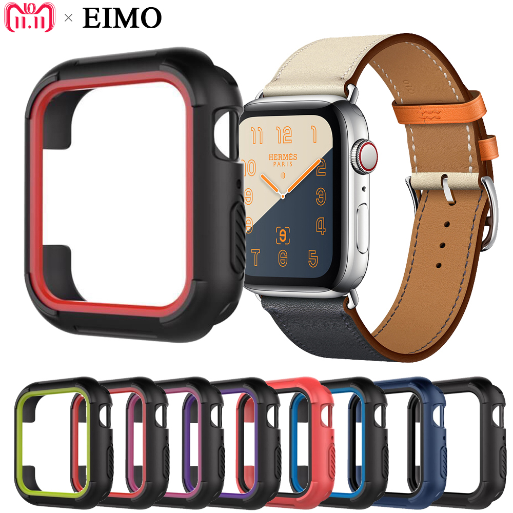 EIMO Protective case cover For Apple watch series 4 44MM 40MM iwatch band 4 Replacement Silicone TPU Protection frame protective tpu bumper frame for iphone 4 4s green