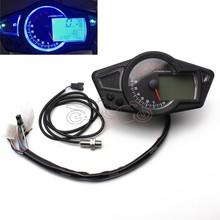 for 2&4 Cylinders(6.8) ABS Motorcycle LCD Speedometer Motorcycle Digital Odometer Speedometer Tachometer Black 1x sensor cable 2x magnet for motorcycle digital atv odometer speedometer tachometer