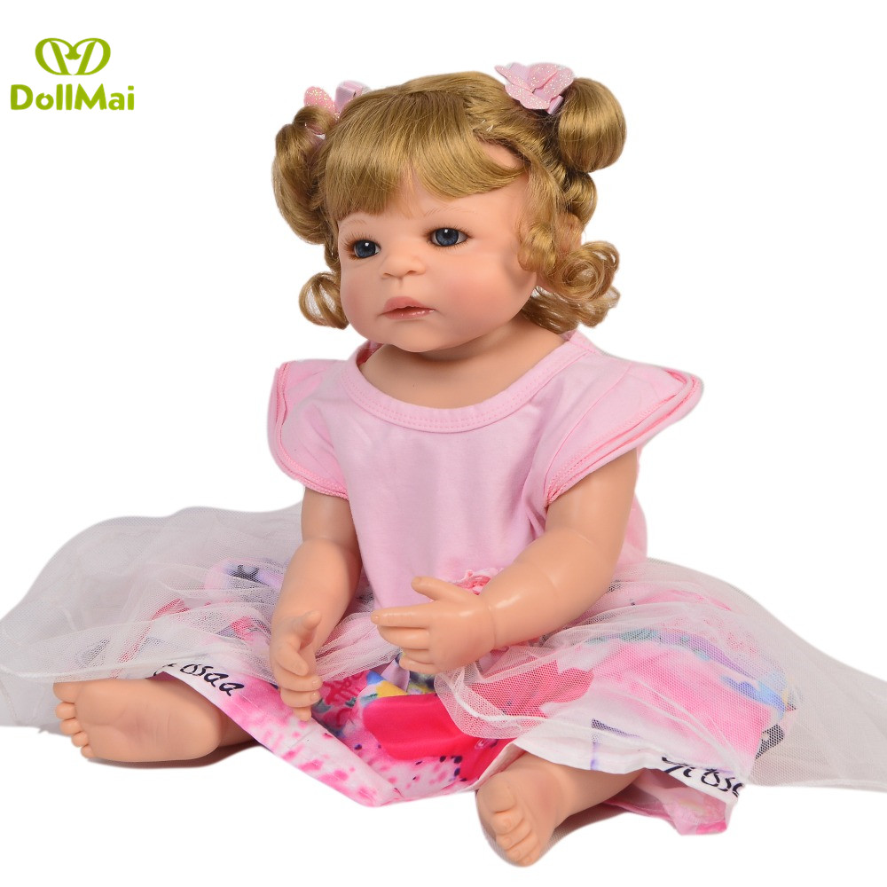 Réel 57 CM Reborn bébé poupées fille corps entier SIlicone réaliste bébés poupée bain jouet nouveau-né bébés Bonecas Bebes Reborn Menina - 2
