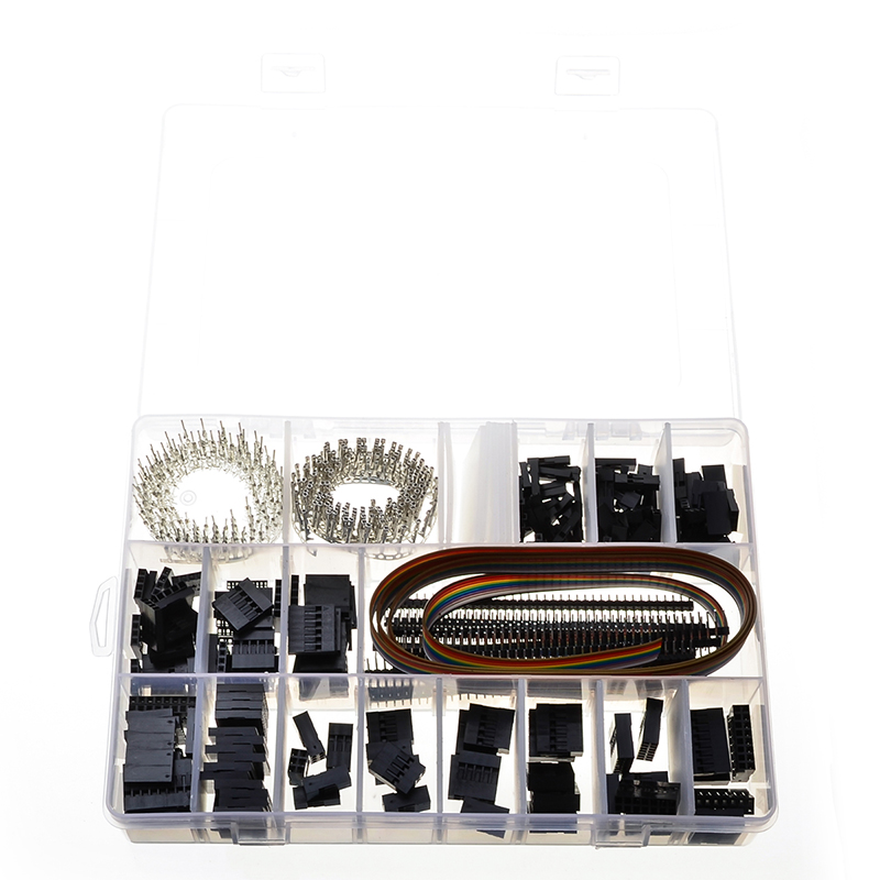 520PCS Wire Connectors Jumper Pin Housing Header PCB Headers Housing Terminals & Rainbow Color Flat Ribbon IDC Cable Kit 260pcs wire cable jumper male female pin connectors pcb headers housing terminals
