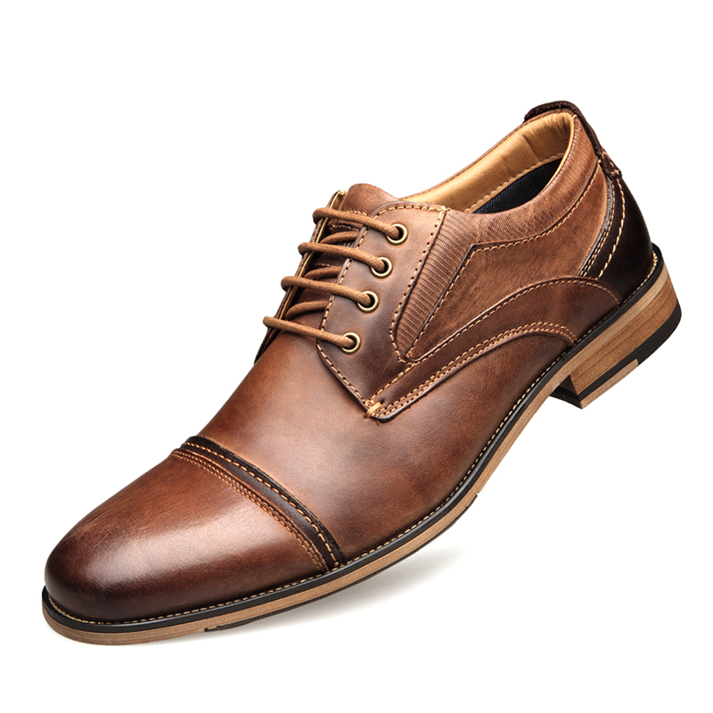 2019 Spring Men's Genuine   Leather   Shoes Size 40-50 Top Head   Leather   Brand Dress Shoes Europe and America Style Man Shoes