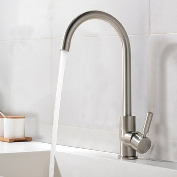 Best Commercial Brushed Nickel Stainless Steel Single Handle Kitchen Sink Faucet, Single Lever Kitchen Faucets