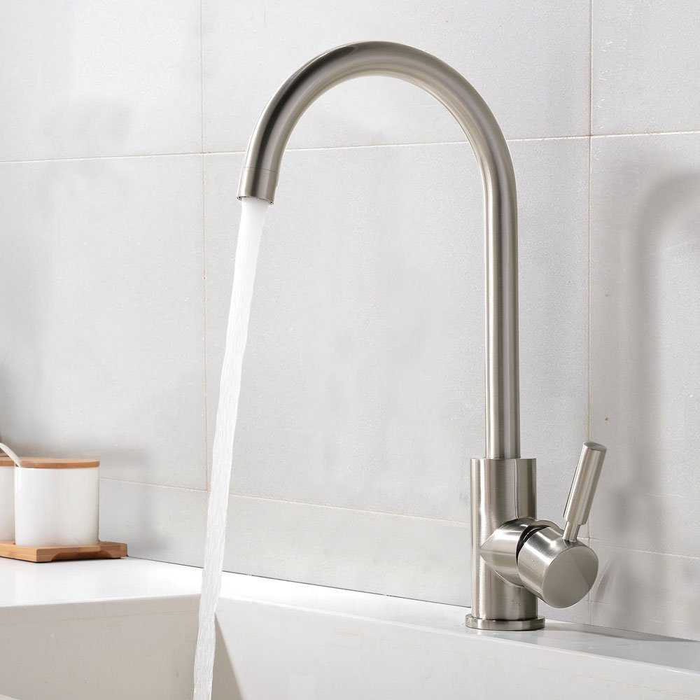 online get cheap kitchen faucets commercial aliexpress com best commercial brushed nickel stainless steel single handle kitchen sink faucet single lever kitchen faucets