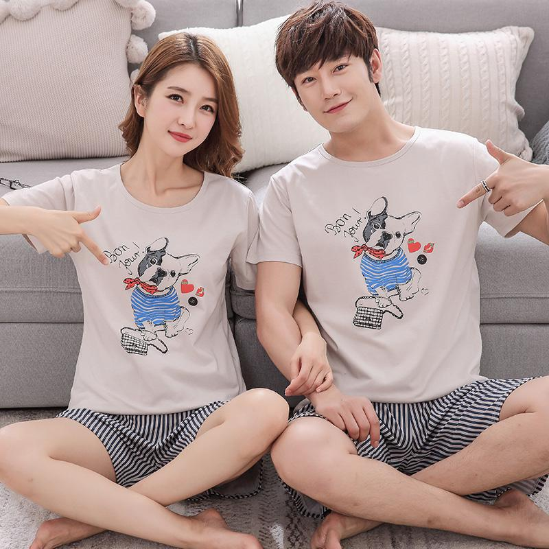 MISSKY 2pcs/set Men Women Pajama Sets Casual Loose Breathable Summer Short Sleeved Cotton Home Wear Male Clothes For Sleepwear