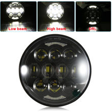 2018 New Brightest DOT Approved 80W with DRL 5-3/4 5.75 Round LED Projection Headlight for  Motorcycles Black/Silver
