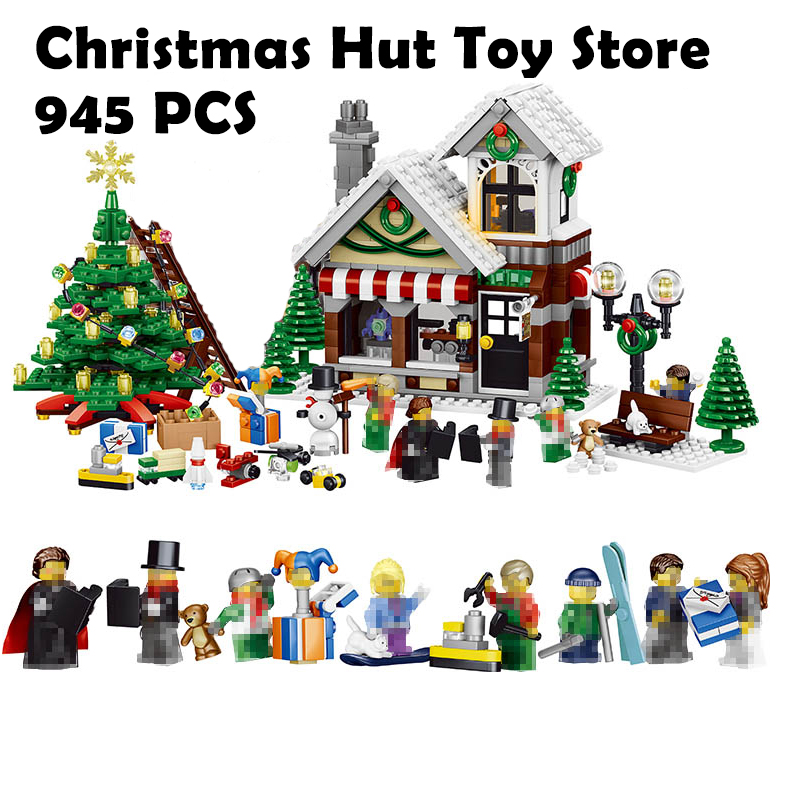 36002 945pcs Model Building Blocks My World Winter Christmas Hut Toy Store Compatible with Lego House Building Blocks For kids my christmas cd