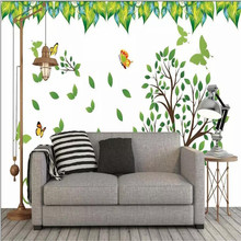 Bird language floral living room TV background wall professional production mural wholesale wallpaper custom photo