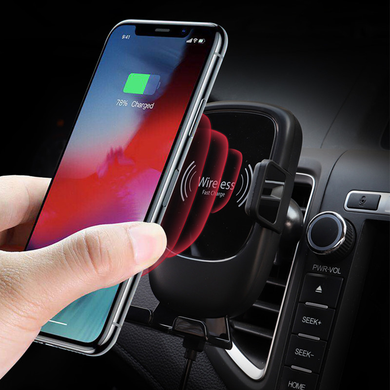 Car Phone Holder for iPhone Intelligent Infrared Sensor Car Wireless Charger Air Vent Windshield Mount Mobile