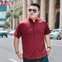 Summer tide brand extra large men's red casual shirt loose 140kg 8XL short sleeved shirt 7XL