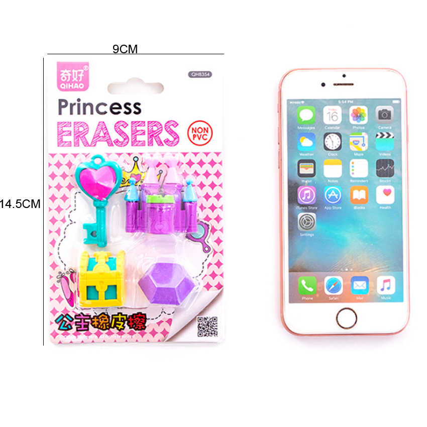 4 pçs/lote borracha bonito dos desenhos animados princesa castelo série princesa borracha conjunto bonito artigos de papelaria escola estudante suprimentos presente para crianças