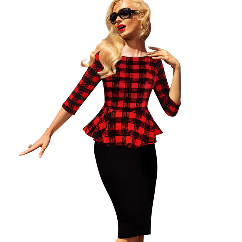 Womens Peplum Elegant Vintage font b Tartan b font Plaid Patchwork Contrast Tunic Wear to Work