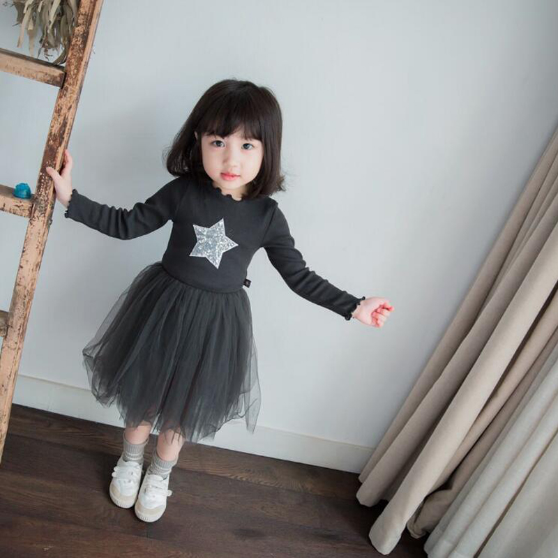 Buenos Ninos Spring Autumn Baby Girls Fashion Sequined Stars TuTu Dress Long Sleeve Fluffy Party Dresses For Kids Clothing