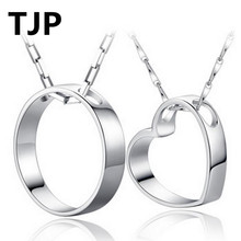 TJP 2018 Hot Sale Couple Pendants Necklce Jewelry 925 Sterling Silver Choker Necklace Heart Round Pendant Valentines Day Gift