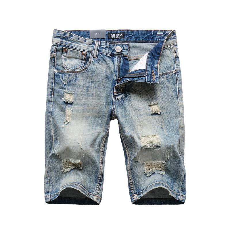 Italian Style Fashion Men's Jeans   Shorts   High Quality Summer Denim   Shorts   Men Knee Length Cotton   Short   Ripped Jeans Size 29-38