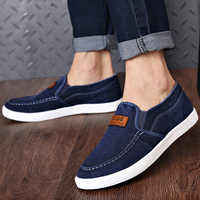 Denim shoes for student solid fabric loafers men slip-on shallow simple style flat sneakers 2019 new summer fashion