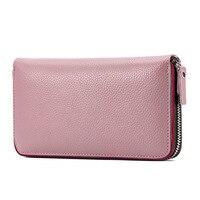 Luxury Genuine Leather Clutch Lady Dài Ví Sọc Xanh Đỏ Vành Đai Thẻ Ngân Hàng Túi Điện Thoại Di Zipper Pouch Tiền Giấy Purse