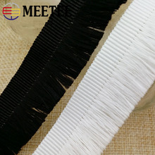 Meetee 100yards/lot 35MM Black White Tassel High Quality Clothing Shoes Lace Unilateral Row Polyester Ribbons ZK5131