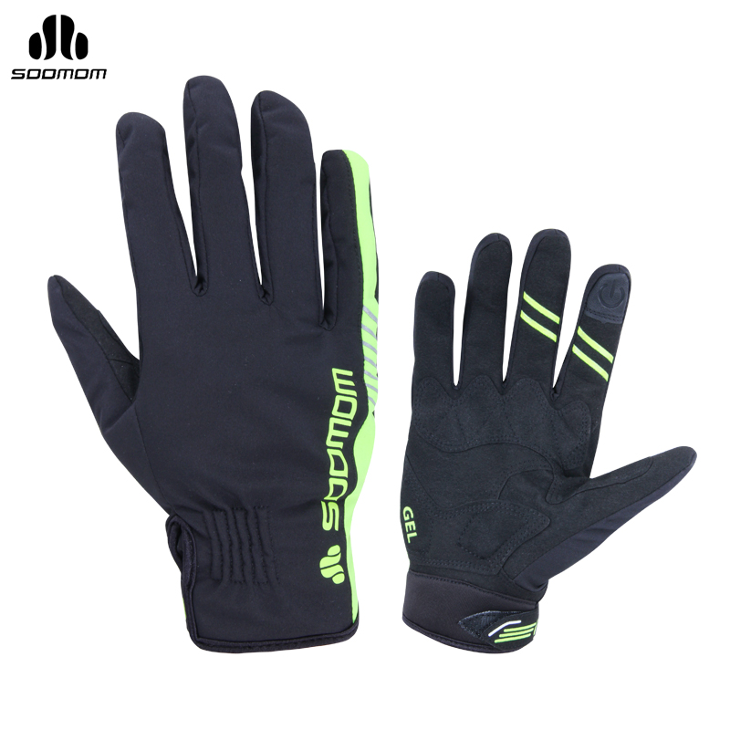 SOOMOM Bike Bicycle Winter Windproof Full Finger Gloves Outdoor Sports Skiing Cycling Riding Anti-slip Anti-shock Gloves mtwe9018 anti slip half finger bicycle riding cycling gloves blue grey black xl size pair